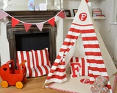 Teepee play tent - tipi - teepe - red and white stripe