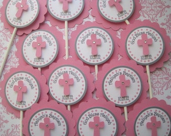 Baptism Cup Cake Toppers....Set Of 12...First Communion, Confirmation, Christening