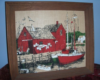 Vintage Stonelea Mills Framed Burlap Painting of Maine Harbor