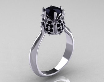 14K White Gold 1.0 Carat Black Diamond Tulip Solitaire Engagement Ring NN119-14KWGBD