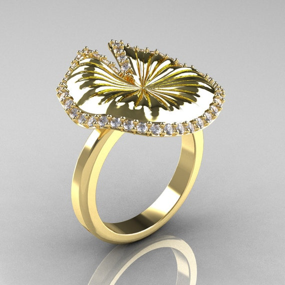 14K Yellow Gold Diamond Water Lily Leaf Wedding Ring, Engagement Ring NN121-14KYGD