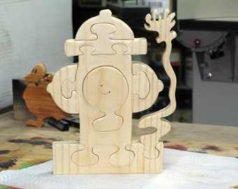 Fire Hydrant Plug Wood Stand Up Puzzle