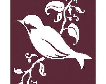 Handmade Modern Bird & Leaf Silhouette PDF Cross-Stitch Pattern Chart