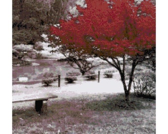 Black and White Park with Red Tree PDF Cross Stitch Pattern