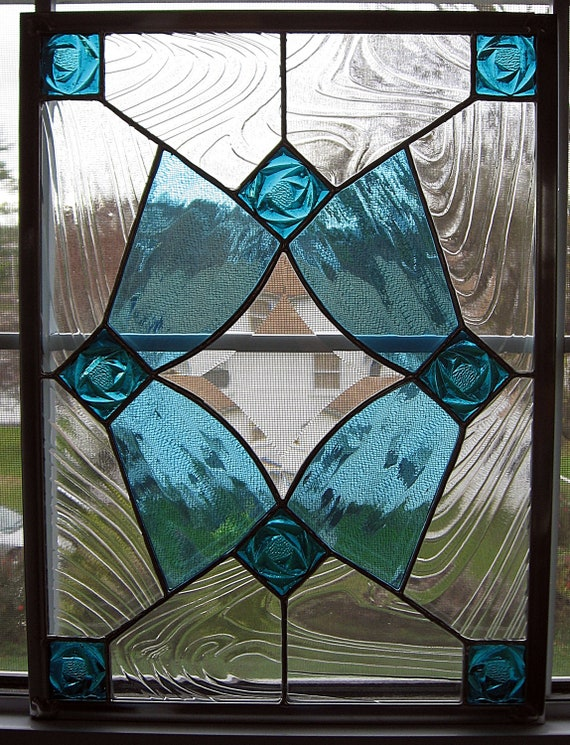 Items similar to classic geometric stained glass window for Clear baroque glass
