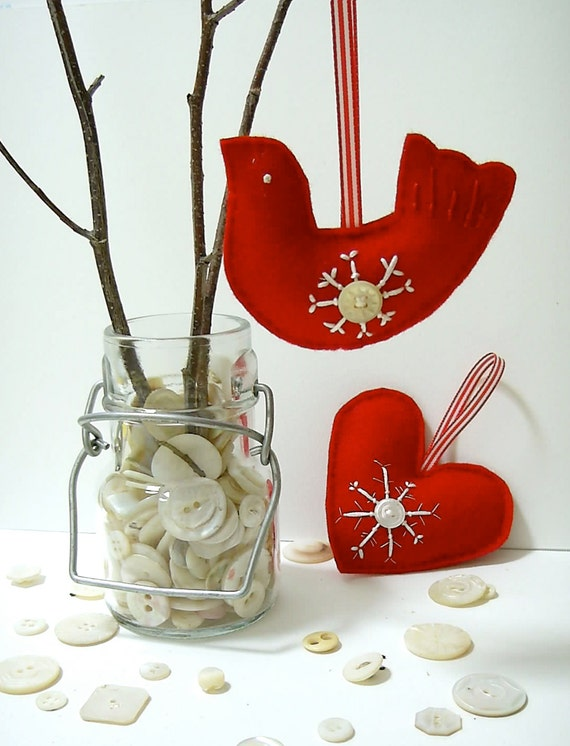 Christmas tree ornaments red felt bird & heart by BirdintheWoods