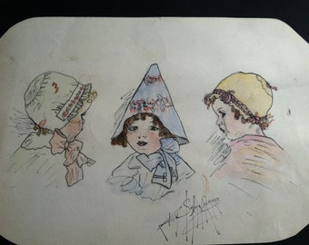 Antique Original Drawing of Three Young Children With Hats - Signed by Artist Sylvia Romano - c. 1910 - 1920
