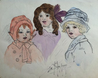 Antique Original Drawing of Three  Children - Signed by Artist Sylvia Romano - c. 1910 - 1920
