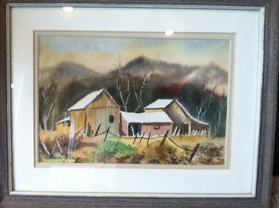 Original Watercolor of a Ranch - Signed by Artist - Aileen Berg - Framed and Ready to Hang
