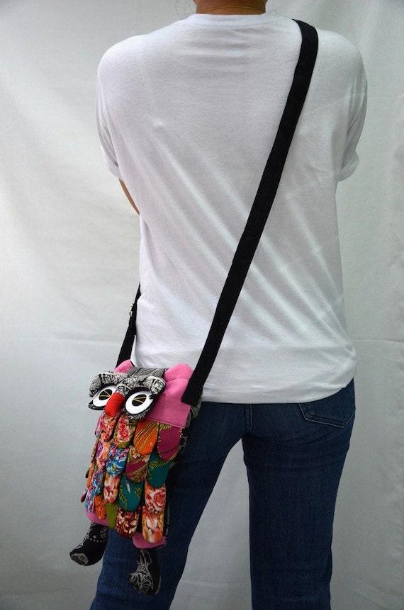 Medium - Pink Ninja Hip Bag Handmade Owl Patchwork Crossbody Bag Messenger M4216