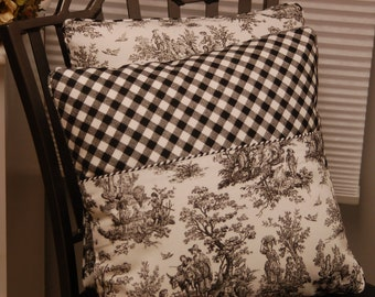 OOAK Premier Prints Black White Toile Throw Pillow Cover, Pieced Decorative Pillow, Patchwork Accent Sofa Pillow,  Invisible Zipper Closure