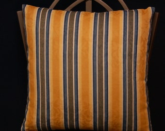 18 Inch Decorative Throw Pillow Cover, Blue Yellow White Stripes, Invisible zipper closure