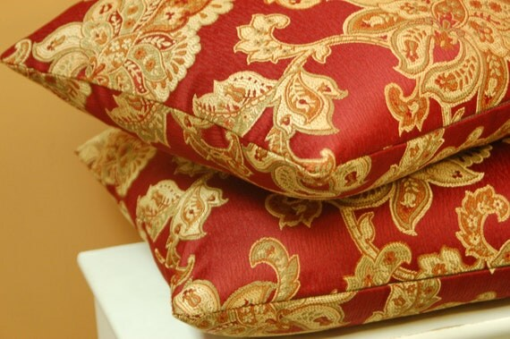Red Floral 18 inch Jacquard Throw Pillow Cover Set, Red/Gold Sofa Pillow, Decorative Accent Pillow