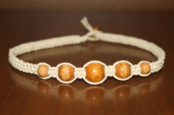 Tan Brown Wooden Beads Hemp Choker Necklace - Square Knot - Women Teen Kid Boy Girl Child