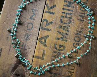 Turquoise and Pyrite Long Necklace