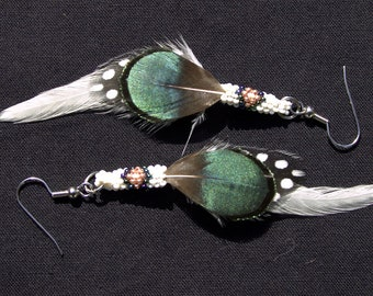 Handmade Green, Black, and White Feather Earrings with White and Copper Beadwork