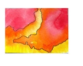 Orange Red Yellow Abstract Contour Map ACEO ATC Artist Trading Card Original Abstract Watercolor & Ink Painting on paper OOAK