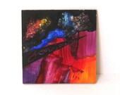 "Original Contemporary Painting on Wood Panel Eco Friendly "" Bonjour "" Abstract Vivid Colorful Texture Black Blue Orange Purple Magenta"