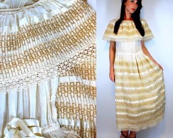Vintage 70s Bohemian Gauze Lace Crochet embroidery cotton Mexican Wedding Dress maxi Boho hippie draped sheer Off shoulder cream off white