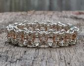 Handwoven Sterling Silver Rose Gold Center Chainmaille Wide Byzantine Bracelet: Yoga Jewelry Vegan Jewelry Shanti Ahimsa Mantra Meditation