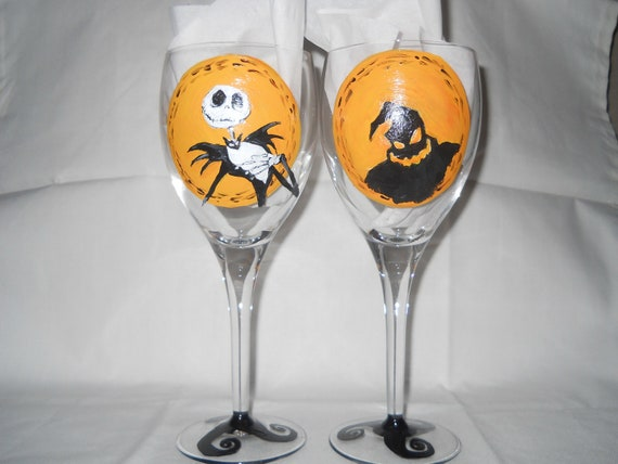 REDUCED----------Set of Nightmare before Christmas wine glasses