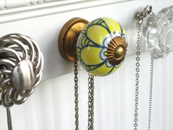 Jewelry Rack Necklace Display with Yellow and Gray