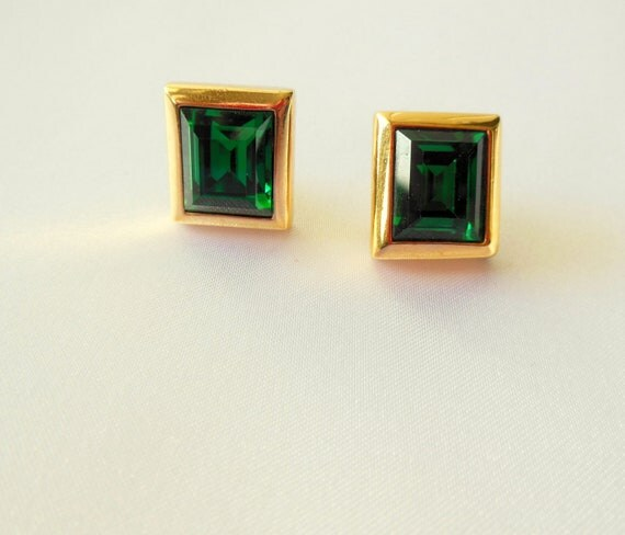 Vintage Earrings Swarovski S.A.L. Marked Pierced Emerald Cut Crystals