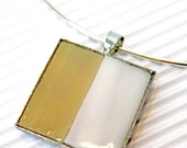 Handmade Pendant vitreous glass in square silver cabochon. Camel and white stripe glass inlay.