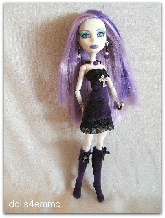 Sweet Goth DRESS STOCKINGS & Jewelry Handmade for Monster High Doll Custom Fashion by dolls4emma
