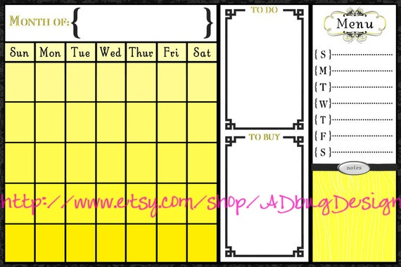 Phoebe Calendar 20x30 - Printable Dry Erase Calendar - High Resolution JPG - Command Center