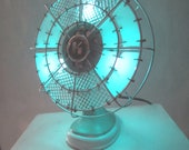 Homemade upcycled vintage art deco fan lamp for beautiful mood lighting.