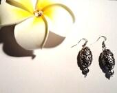 Silver Oval Antique Dangle Earrings