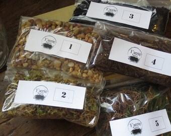 Terrarium Contents Kit, DIY Terrarium Supply Moss Terrarium Kit Layered Terrarium Supplies Live Moss Kit
