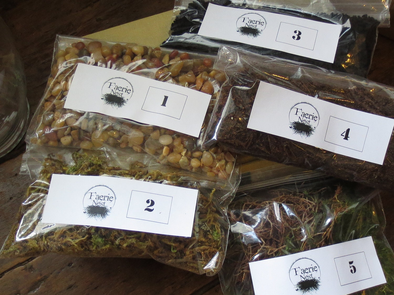 Terrarium contents kit diy terrarium supply moss by faerienest for Terrarium supplies