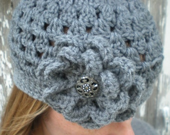 Women's Beanie with Flower in Heather Gray - Grey Crocheted Hat with Flower - Gift Idea for Her