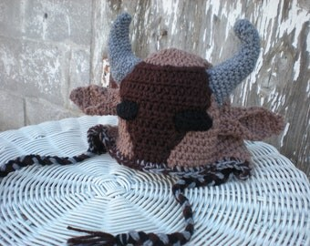 Wildebeest Hat Pattern - Child's Beast Hat Pattern - Fun Kid's Hat with Ear Flaps Pattern - Crochet Pattern