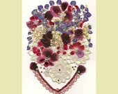 Collage Floral Art Luli 090- Pressed flower art- Collage art- dried leaves- Floral with  sequins,antique lace,stitching