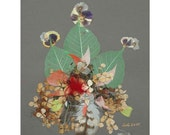 Collage Floral Art Luli 020-pressed flower art-collage art-dried leaves-floral with feathers,leaves decoratives