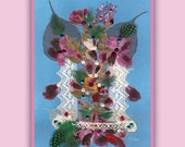 Art Print 027 of Original Collage Floral Luli- Pressed Flower -Floral Art with sequins,feathers