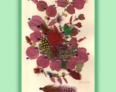 Art Print 028 of Original Collage Floral Luli- Pressed Flower -Floral Art with sequins, feathers