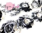 BLACK WHITE PEACOCK Shabby Rose Trim- Shabby Flowers- 1/2 Yard or 1 Yard- Shabby Chiffon Trim- Wholesale Shabby Flowers- Shabby Chic
