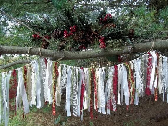 Christmas garlandshabby chic garland rustic garland vintage for Shabby chic garland lights
