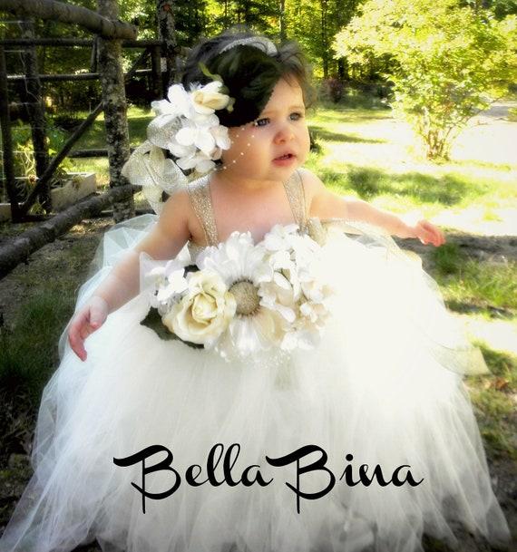 Wedding white flower girl dress w matching halo by bellabina for Matching wedding and flower girl dresses