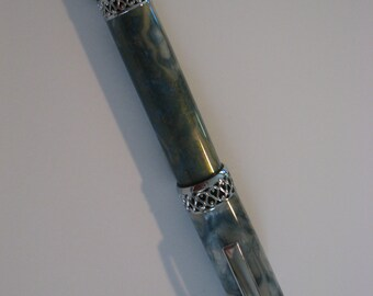 Blue, Gray and White Swirl Rollerball Pen