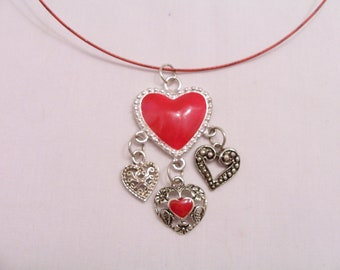 Red heart metal charm pendant necklace - metal necklace - red necklace - heart pendant necklace - heart charm jewelry