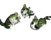 3 Kawaii Kitty Charms, Green Resin Cat