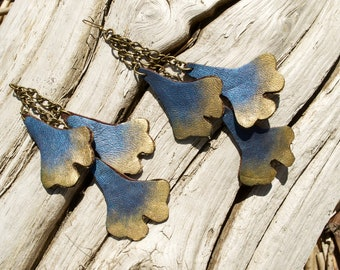 Triple ginko leaf leather earrings