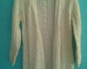 Vintage Long Sleeve Cable Knit Cream Open Front Cardigan Women's Sweater by Rosanna