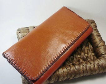 Tri-fold Woman Leather Clutch Wallet, Leather Wallet, Leather Purse Wallet, Handstiched, Hand-sewn