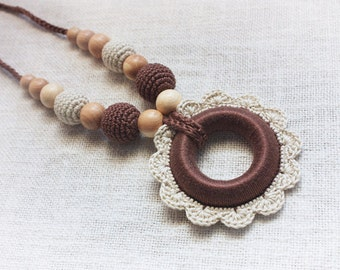 Babywearing Teething Nursing necklace for Mom with Crochet Pendant Wooden Ring flower Teether - Breastfeeding jewelry - cream purple brown